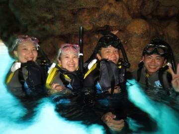 青の洞窟シュノーケル&美ら海体験ダイビング×4名様