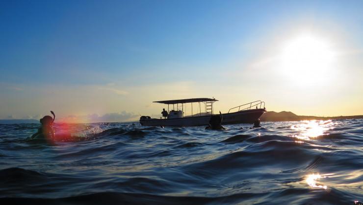 朝日とともに海へ