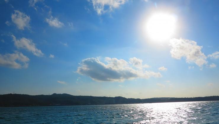 (久々の穏やかな海ー!)